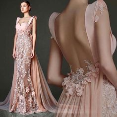Gorgeous Pale Pink Gown With Flower Detail and Flowing Train Paris Chic, Evening Dresses, Prom Dresses, Formal Dresses, Wedding Dresses, Long Sleeve Evening Gowns, Elegant Dresses, Pretty Dresses, Couture Dresses