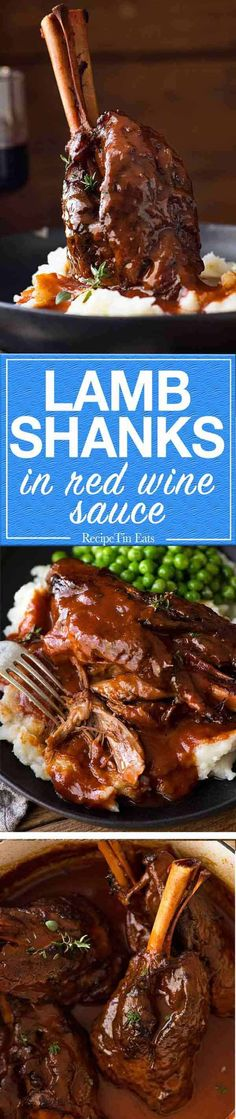 Meltingly tender lamb shanks slow cooked in red wine sauce Use Beef Shanks Lamb Recipes, Meat Recipes, Slow Cooker Recipes, Cooking Recipes, Recipies, Dinner Recipes, Slow Cooked Lamb Shanks, Lamb Shank Recipe, Wedding Food Menu