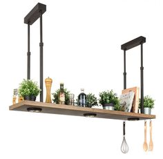 Hanging shelf with downlight spots for the kitchen by Breda Leuchten - Beleuchtung Diy Luminaire, Dining Table Lighting, Kitchen Wall Shelves, Suspension Metal, Home Coffee Stations, Edison Lighting, Task Lighting, Room Lamp, Hanging Shelves