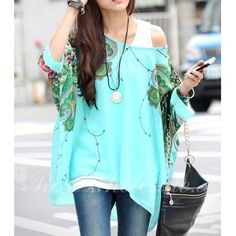 Stylish Women's Scoop Neck Batwing Sleeve Printed Loose-Fitting Chiffon Blouse