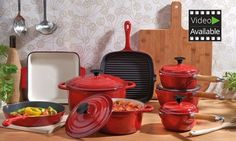 Cook various meals with these cookware sets that feature an enameled interior to prevent food from sticking