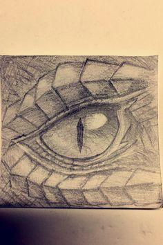 Dragon eye sketch- drawn in pencil by Rebecca Griffith