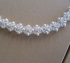 Crystal Crowns Clear Crystal and White Pearls Bridal Bracelet