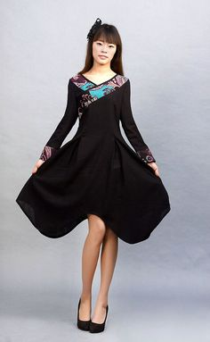 Osmanthus  Black linen dressE55700668 by xiaolizi on Etsy, $62.00