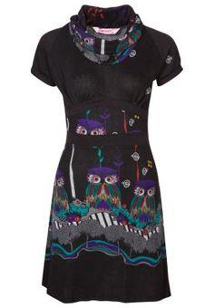 Smash SHEBA - Jumper dress - black/multi for Free delivery for orders over Black Jumper Dress, Short Sleeve Dresses, Dresses With Sleeves, Dresses For Work, Outfits, Owls, Fashion, Sweater Dress Outfit, Dress Black