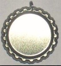 10 Bottle Cap Pendant Settings For Bottle Cap Jewelry w/ Self Adhesive Covers