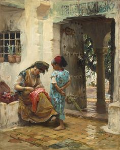 Frederick Arthur Bridgman - The Sewing Lesson