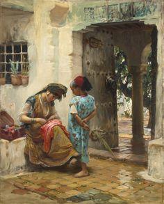 Frederick Arthur Bridgman - The Sewing Lesson