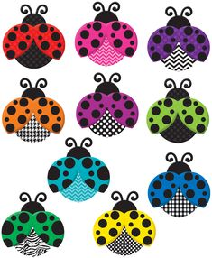 Colorful Ladybugs Accents - Use this decorative artwork to dress up classroom walls and doors, label bins and desks, or accent bulletin boards. 3 each of 10 designs. 30 accents per pack. Dimensions: pieces are about 6""