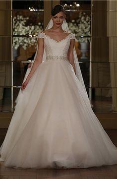 Bridal Gowns: Legends by Romona Keveza A-Line Wedding Dress with V-Neck Neckline and Natural Waist Waistline