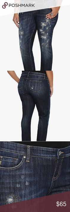 "Torrid Premium Jeans Dark wash This is your most prized jean; it's the cool, casual Boyfriend fit you love with extreme destruction down the leg and gold stitching over it. The straight leg can be worn rolled up or down. Made from dark washed denim, this borrowed-from-him look is low maintenance, high style.  Mid-rise Size 14: 32"" uncuffed inseam; 15 1/2"" leg opening 98% cotton; 2% spandex  In good used condition. Bundle to receive better deal FAST SHIPPING !! torrid Jeans Boyfriend"