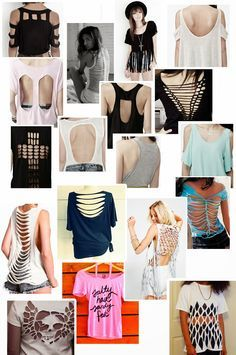 Outfit ideas and diy clothing. Diy Cut Shirts, T Shirt Diy, Diy Tshirt Ideas, Diy Clothes Refashion, Shirt Refashion, Cut Shirt Designs, Ripped Shirts, Diy Fashion, Fashion Outfits