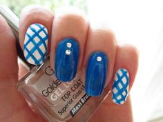 Blue squared nail art :: one1lady.com :: #nail #nails #nailart #manicure