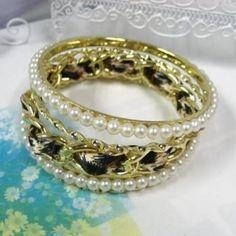 Bangles Set   Gold - One Size 3 Stone Diamond Ring, Bangle Set, Bracelets, Gold, Accessories, Jewelry, Fashion, Angel, Moda