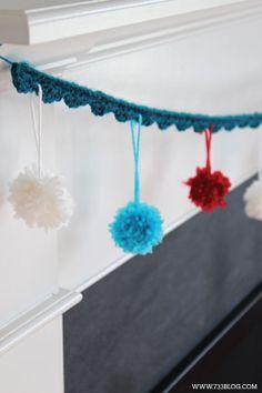 DIY Scallop Pom-Pom Crochet Garland Tutorial - Beginner Pattern