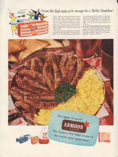 """Description: 1953 ARMOUR MEATS vintage print advertisement """"fresh-made pork sausage"""" -- Choose this fresh-made pork sausage for a Skillet Breakfast! It's another of Marie Gifford's favorite recipes! You know it's good! Armour Star -- The Armour Star label is one of the world's great guarantees! -- Size: The dimensions of the full-page advertisement are approximately 10.5 inches x 14 inches (27 cm x 36 cm). Condition: This original vintage full-page advertisement is in Very Good Condition ..."""
