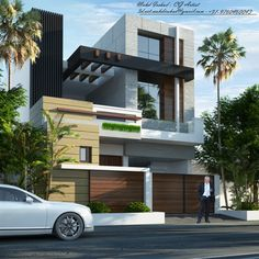 Duplex House Design, Apartment Design, Modern House Design, House Elevation, Front Elevation, House Architecture Styles, Architectural House Plans, Architecture Visualization, Facade Design