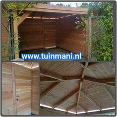 Een maatwerk veranda - overkapping, is een van de specialiteiten van tuinmani. Deze terrasoverkapping is gemaakt van lariks , het dak is bedekt met dakshingles en in de achterwand is een poort - tuindeur gemaakt. Een fijne plek in uw tuin, om heerlijk te genieten met vrienden. Ook verkrijgbaar met EPDM folie en in geïmpregneerd hout. Geplaatst door en verkrijgbaar bij @Tuinmani #tuinmani www.tuinmani.nl