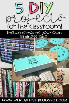 These 5 DIY Projects for the classroom are great ideas for classroom décor, organization, and flexible seating. Make a kindness table, a new teacher chair, a table skirt, or revamp your ikea stools!