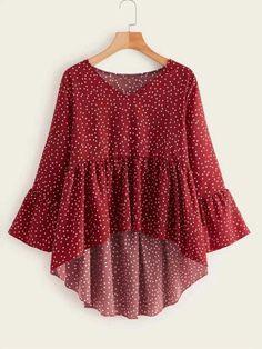 Red Blouses, Blouses For Women, Blouse Peplum, Polka Dot Blouse, Stylish Dresses, Fashion Dresses, Plus Zise, Muslim Fashion, Plus Size Blouses