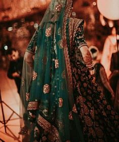 Shades of emerald and strokes of teal make one helluva wedding outfit . hints of jasmine through the dupatta veil 😍 . Indian Bridal Outfits, Indian Bridal Fashion, Indian Bridal Wear, Pakistani Wedding Dresses, Indian Dresses, Wedding Lehnga, Desi Wedding, Wedding Updo, Wedding Makeup