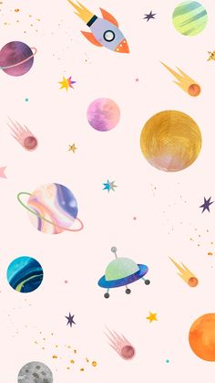 Download premium vector of Colorful galaxy watercolor doodle on pastel