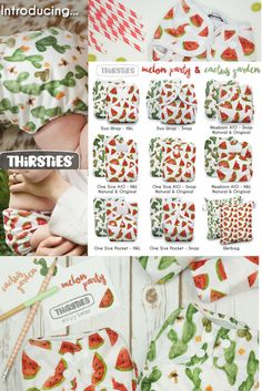 Thirsties Cloth Diaper 2016 Summer Prints: Cactus Garden & Melon Party! Clean white backgrounds allow the colorful art to pop, making for prints that are equally classic while still fresh and modern.