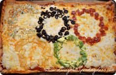 Olympic Ring Pizza - what a great idea for opening ceremonies this week!