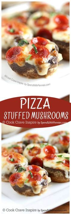 ! Pizza Stuffed Mushrooms! Easy to make and loaded with real pizza ...