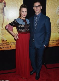 Date night: Andy Samberg, and wife Joanna Newsom, attended the premiere of Popstar. Andy Samberg, Dapper Suits, Looking Dapper, Height And Weight, Suit And Tie, Blazer Buttons, Red Carpet Fashion, Cool Style, Prom Dresses