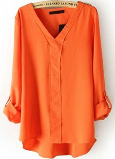 Orange V Neck Long Sleeve Rivet Dipped Hem Blouse - Sheinside.com Mobile Site