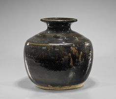 """Large Yuan Dynasty Henan Glazed stoneware jar; of rounded form and everted rim; H: 12"""""""