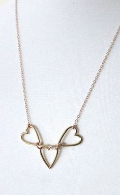 Golden Heart on Rose Gold Chain necklace simple by ColorMeMissy