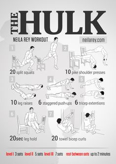 The Hulk Strength Workout / works: quads, calves, ankles, chest, shoulders, lower back, triceps, abs, biceps, front hip flexors.