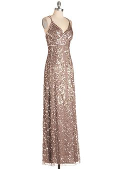 Fancy From Now On Dress. From the moment you fancy up in this taupe gown, you take on a gloriously luxe air! #gold #prom #modcloth