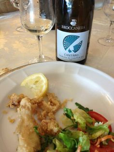 Another good #Verdicchio w delicious fried #fish. 11' Broccanera Cantaro Verdicchio dei Castelli di #Jesi