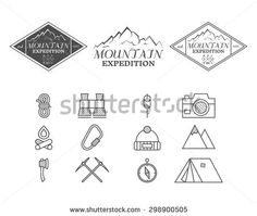 Set of monochrome mountain camp badge, logo and label and icon templates. Travel, hiking, climbing style. Outdoor. Best for adventure sites, travel company etc. Isolated on white background. Vector.