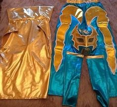 SIN CARA FANCY DRESS UP COSTUME OUTFIT WRESTLING NEW SUIT GEAR PANTS & SIN CARA JR Luchador Complete Halloween Costume BLUE - Pant Cape ...
