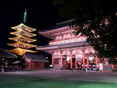 Asakusa - Hozomon and Gojunotou  浅草の風景壁紙写真18 浅草寺五重塔の夜景(1024×768)