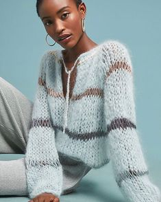 Soft blue on this Sunday with the Mohair Blouse with Lurex. This shows a sweater can be dressy too! Knitwear Fashion, Knit Fashion, Sweater Fashion, Laine Drops, Pullover Mode, Mohair Sweater, Knit Sweaters, Knitting Designs, Sweater Weather