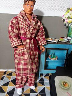 Homemade Doll Clothes-Blue W//Gold Pam Trees Print Shirt that fits Ken Doll B1