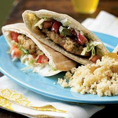 Superfast Mediterranean Recipes | Lemon Chicken Pita Burgers with Spiced Yogurt Sauce | CookingLight.com