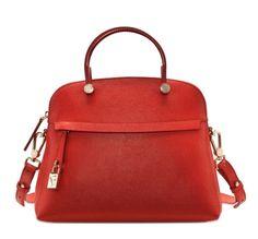 Furla Piper M Dome - Women Handbag on YOOX. The best online selection of Handbags Furla. Red Shoulder Bags, Small Shoulder Bag, Shoulder Handbags, Leather Shoulder Bag, Shoulder Strap, Unique Handbags, Large Handbags, Leather Purses, Leather Handbags