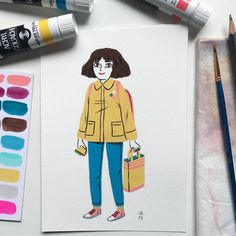 A little gouache character to test the tubes of Turner Acryl gouache I bought a while ago by Juliabe — juliabe.tumblr.com