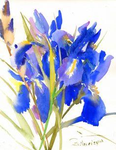 "showantell: "" Brogh Blue Irises, Original watercolor painting, 14 X 11 in, bright blue watercolor art, irises painting, blue irises, ultramarine blue by ORIGINALONLY (46.00 USD) http://ift.tt/1B6kCHD """