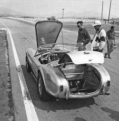 Cobra Number one, CSX 2000, was different from all of the ensuing cars. The fuel filler was on the left side of the rear deck whereas the rest were in the center. This picture reveals the inboard rear brakes exclusive to this car. It made the cover of Road & Track, September 1962.