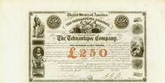 Tehuantepec Company, 1 November 1853, 7 % Bond of £ 250, #721, 22 x 44.6 cm, black, beige, coupons, vertical fold, otherwise EF, superb design with nine vignettes, signature A. G. Sloo.
