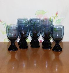 Lovely, Set of 8, Vintage Lenox Bluebell Water Goblets and Wine Glasses by cocoandcoffeevintage