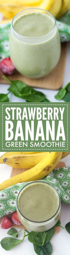 Our Strawberry Banana Green Smoothie is sweet and delicious. If you've never been a fan of green smoothies before, this one will change your mind!