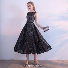 5ec95cba11563 Modest   Simple Black White Striped Homecoming Graduation Dresses 2017 A- Line   Princess Scoop Neck Sleeveless Sash Tea-length Backless Formal  Dresses